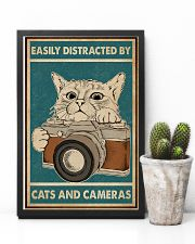 Retro Green Easily Distracted Cats And Cameras 11x17 Poster lifestyle-poster-8