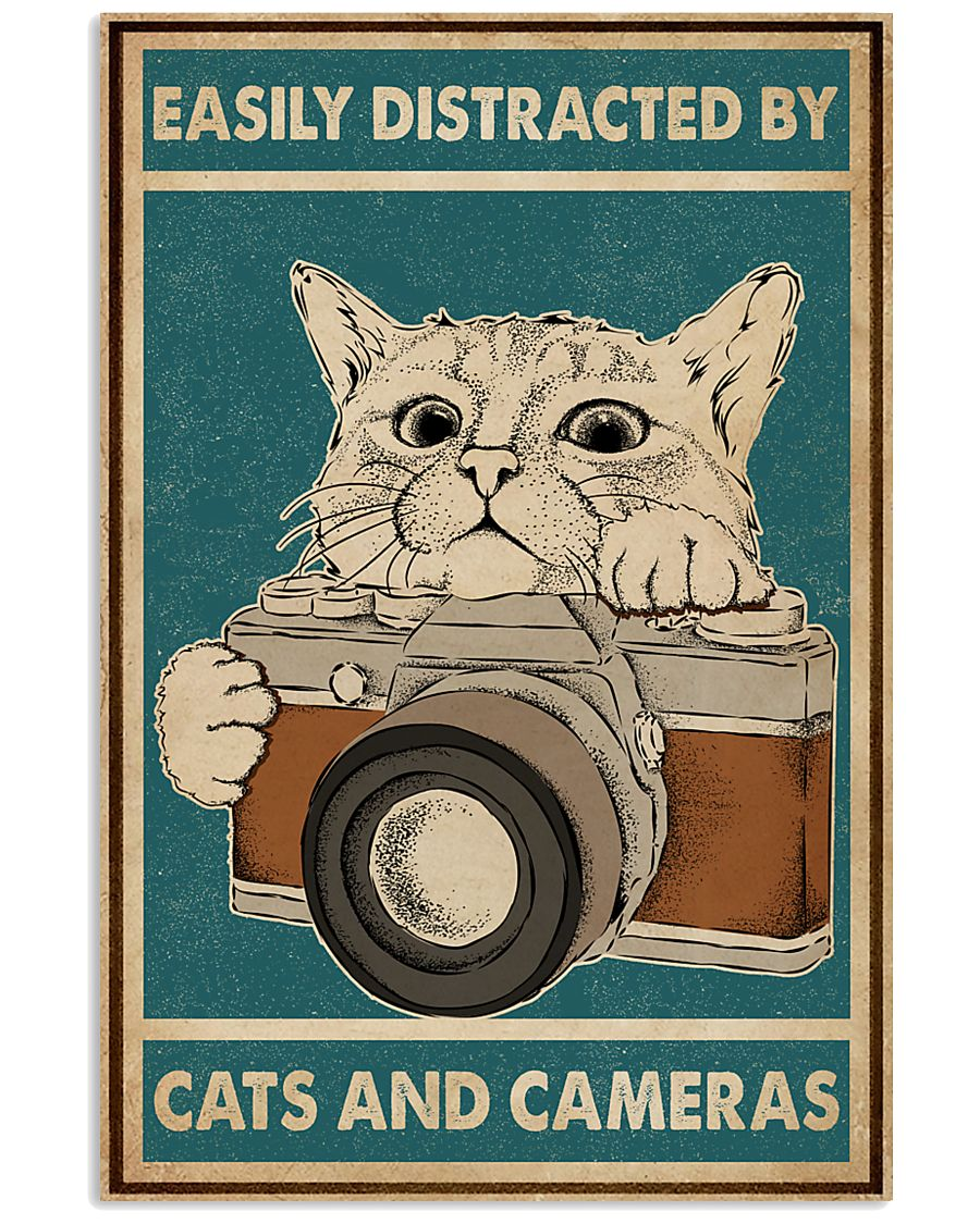 Retro Green Easily Distracted Cats And Cameras 16x24 Poster