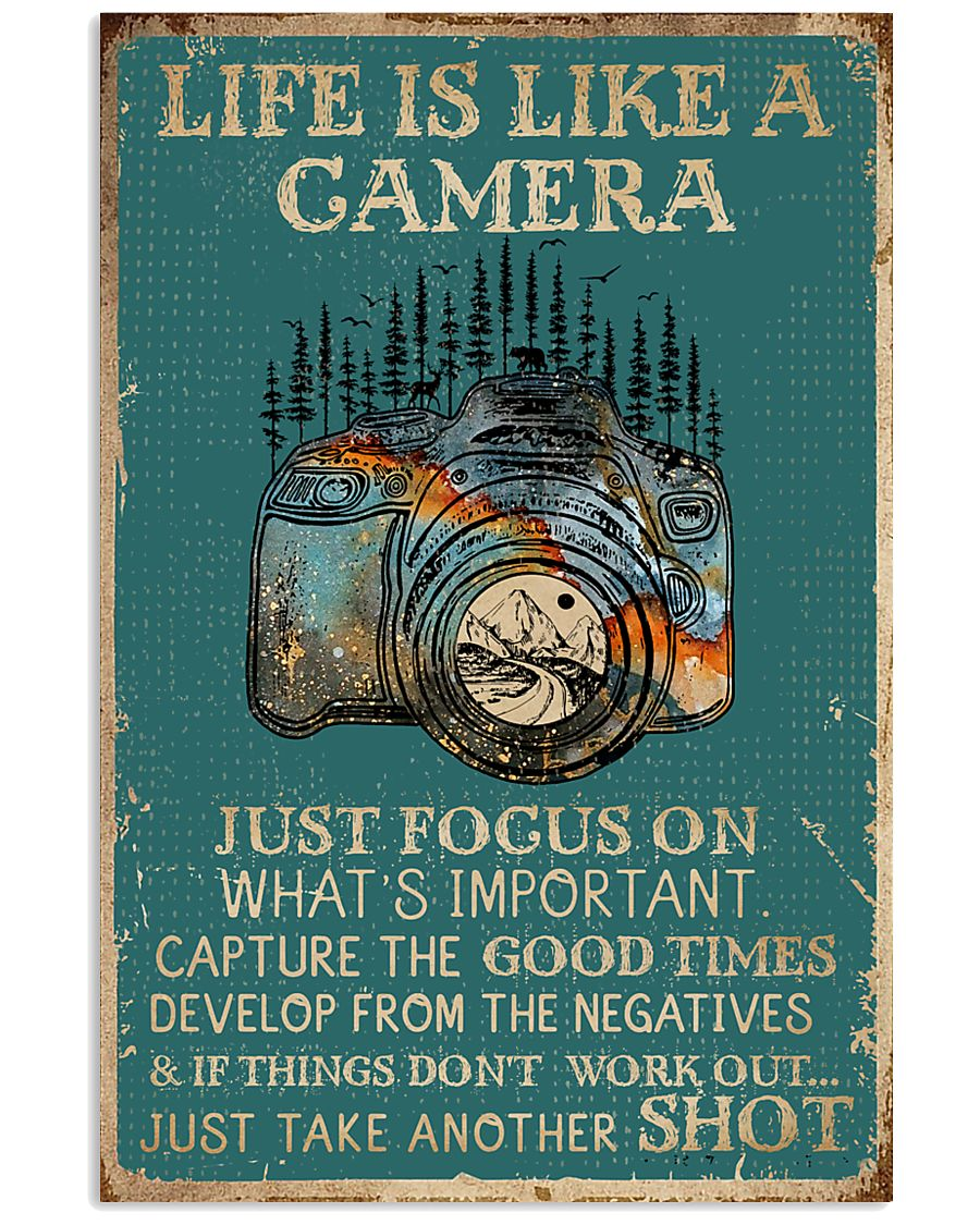 Retro Teal Life Is A Camera 11x17 Poster