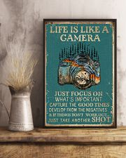 Retro Teal Life Is A Camera 11x17 Poster lifestyle-poster-3