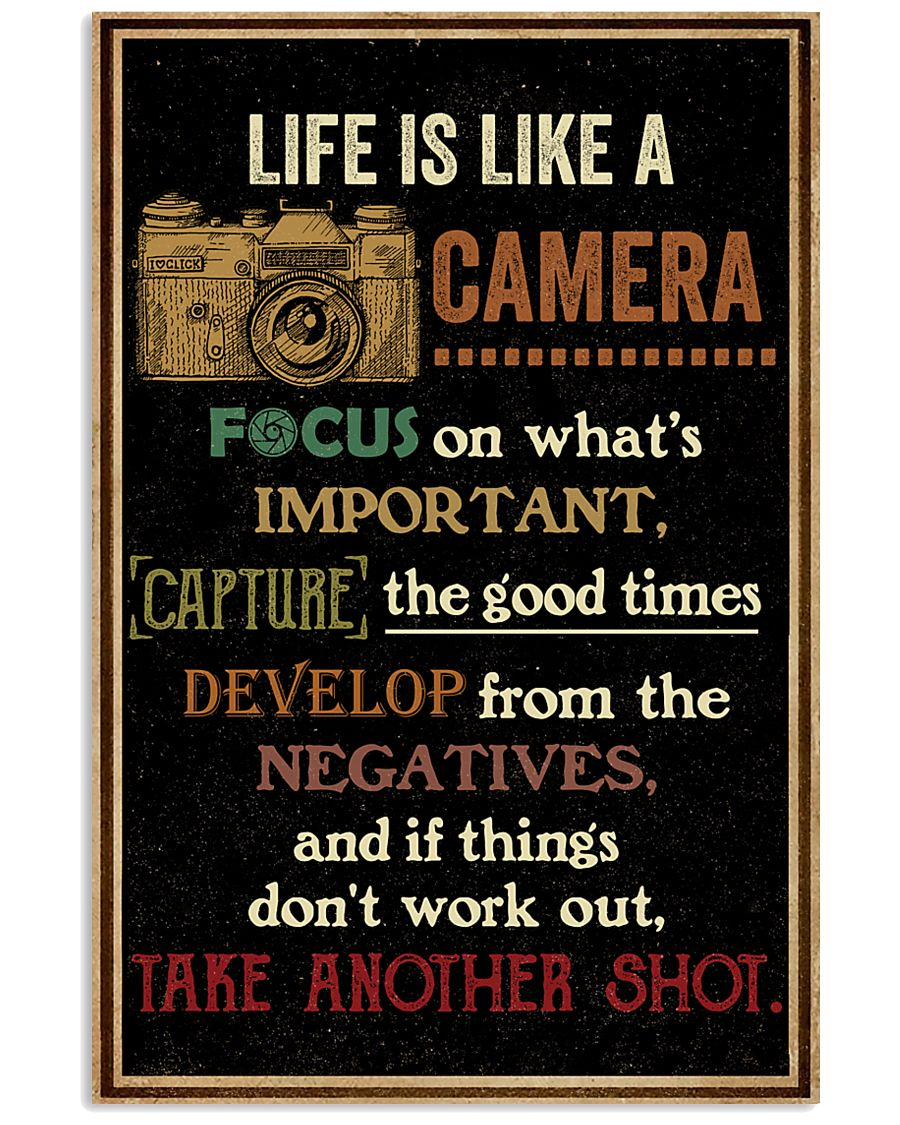Life Is Like Camera Retro Black 16x24 Poster