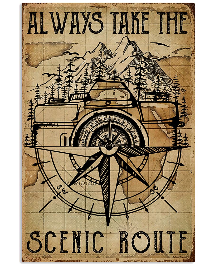 Vintage Always Take The Scenic Route Camera 11x17 Poster