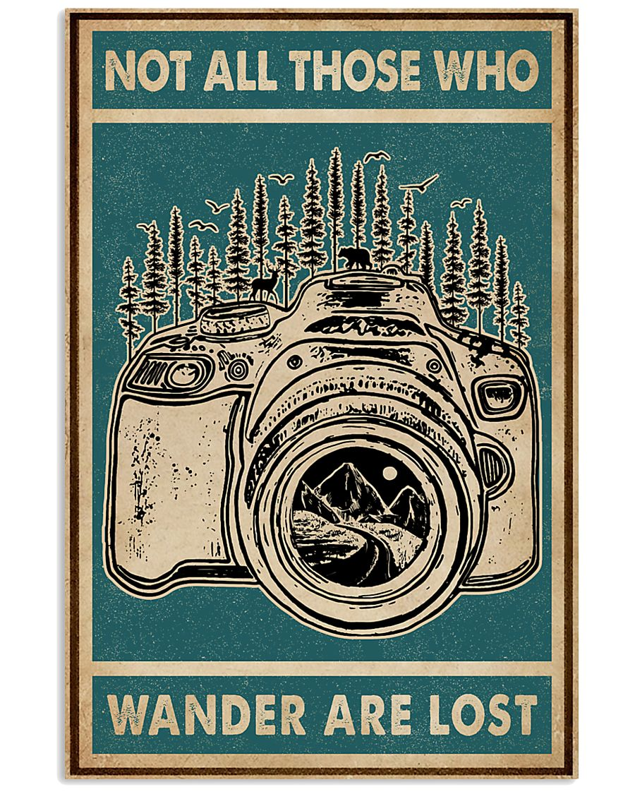 Retro Green Who Wander Are Lost Camera 11x17 Poster