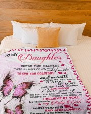 """MOM TO DAUGHTER GIFT- BUTTERFLY- FULL OF LOVE Large Fleece Blanket - 60"""" x 80"""" aos-coral-fleece-blanket-60x80-lifestyle-front-02a"""