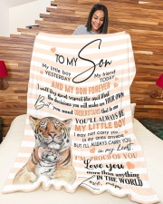 """MOM TO SON GIFT- TIGER I'M PROUD OF YOU LITTLE BOY Large Fleece Blanket - 60"""" x 80"""" aos-coral-fleece-blanket-60x80-lifestyle-front-04a"""