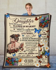"""MOM TO DAUGHTER GIFT-  WORRY LESS SMILE MORE Fleece Blanket - 50"""" x 60"""" aos-coral-fleece-blanket-50x60-lifestyle-front-01"""