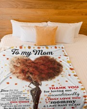 """DAUGHTER TO MOM GIFT- THANK YOU FOR LOVING ME Large Fleece Blanket - 60"""" x 80"""" aos-coral-fleece-blanket-60x80-lifestyle-front-02a"""