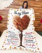 """DAUGHTER TO MOM GIFT- THANK YOU FOR LOVING ME Large Fleece Blanket - 60"""" x 80"""" aos-coral-fleece-blanket-60x80-lifestyle-front-04a"""