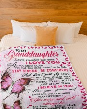 """GRANDMA TO GRANDDAUGHTER GIFT BUTTERFLY CONFIDENT Large Fleece Blanket - 60"""" x 80"""" aos-coral-fleece-blanket-60x80-lifestyle-front-02a"""