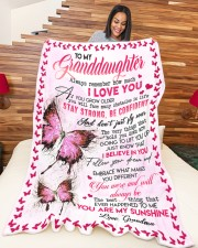 """GRANDMA TO GRANDDAUGHTER GIFT BUTTERFLY CONFIDENT Large Fleece Blanket - 60"""" x 80"""" aos-coral-fleece-blanket-60x80-lifestyle-front-04a"""