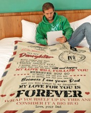 """DAD TO DAUGHTER GIFT- AIR MAIL- SAFE WELL HAPPY Large Fleece Blanket - 60"""" x 80"""" aos-coral-fleece-blanket-60x80-lifestyle-front-06a"""