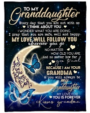 """GRANDMA TO GRANDDAUGHTER GIFT BUTTERFLY SAFE HAPPY Large Fleece Blanket - 60"""" x 80"""" front"""