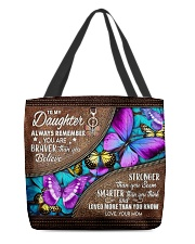 MOM TO DAUGHTER GIFT- BUTTERFLY- BRAVER STRONGER All-over Tote front