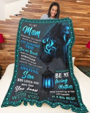 """SON TO MOM GIFT- BRAVER STRONGER SMARTER- AMAZING Large Fleece Blanket - 60"""" x 80"""" aos-coral-fleece-blanket-60x80-lifestyle-front-04a"""