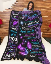 """DAD TO DAUGHTER GIFT- BUTTERFLY PROUD OF YOU Large Fleece Blanket - 60"""" x 80"""" aos-coral-fleece-blanket-60x80-lifestyle-front-04a"""