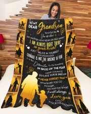 """GRANDMA TO GRANDDAUGHTER GIFT COURAGE BELIEVE Large Fleece Blanket - 60"""" x 80"""" aos-coral-fleece-blanket-60x80-lifestyle-front-04a"""