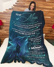 """SON TO MOM GIFT-I ALL FEEL SO LUCKY TO BE YOUR SON Large Fleece Blanket - 60"""" x 80"""" aos-coral-fleece-blanket-60x80-lifestyle-front-04a"""