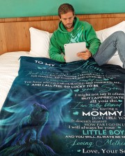 """SON TO MOM GIFT-I ALL FEEL SO LUCKY TO BE YOUR SON Large Fleece Blanket - 60"""" x 80"""" aos-coral-fleece-blanket-60x80-lifestyle-front-06a"""