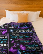 """MOM TO DAUGHTER GIFT- PROUD OF YOU BUTTERFLY Large Fleece Blanket - 60"""" x 80"""" aos-coral-fleece-blanket-60x80-lifestyle-front-02a"""