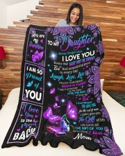 """MOM TO DAUGHTER GIFT- PROUD OF YOU BUTTERFLY Large Fleece Blanket - 60"""" x 80"""" aos-coral-fleece-blanket-60x80-lifestyle-front-04a"""