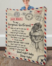 """GIRLFRIEND GIFT- DEEP IN MY HEART YOU'RE THE ONE Fleece Blanket - 50"""" x 60"""" aos-coral-fleece-blanket-50x60-lifestyle-front-02a"""