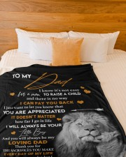"""SON TO DAD GIFT- LION -NEVER OUTGROW YOUR HEART Large Fleece Blanket - 60"""" x 80"""" aos-coral-fleece-blanket-60x80-lifestyle-front-02a"""