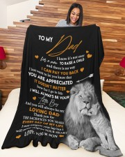 """SON TO DAD GIFT- LION -NEVER OUTGROW YOUR HEART Large Fleece Blanket - 60"""" x 80"""" aos-coral-fleece-blanket-60x80-lifestyle-front-04a"""