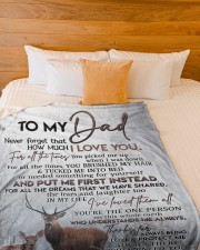 """DAUGHTER TO DAD GIFT- DEER PUT ME FIRST INSTEAD Large Fleece Blanket - 60"""" x 80"""" aos-coral-fleece-blanket-60x80-lifestyle-front-02a"""