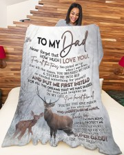 """DAUGHTER TO DAD GIFT- DEER PUT ME FIRST INSTEAD Large Fleece Blanket - 60"""" x 80"""" aos-coral-fleece-blanket-60x80-lifestyle-front-04a"""