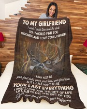"""GIRLFRIEND GIFT- WANT TO BE YOUR LAST EVERYTHING Large Fleece Blanket - 60"""" x 80"""" aos-coral-fleece-blanket-60x80-lifestyle-front-04a"""