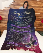 """DAUGHTER TO MOM GIFT DAY BY DAY YOU MEAN MORE Large Fleece Blanket - 60"""" x 80"""" aos-coral-fleece-blanket-60x80-lifestyle-front-04a"""
