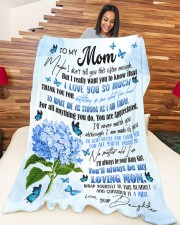 """DAUGHTER TO MOM GIFT- TAUGHT ME- MAKE ME STRONG Large Fleece Blanket - 60"""" x 80"""" aos-coral-fleece-blanket-60x80-lifestyle-front-04a"""