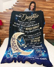 """MOM TO DAUGHTER GIFT- BUTTERFLY- ENJOY THE RIDE Large Fleece Blanket - 60"""" x 80"""" aos-coral-fleece-blanket-60x80-lifestyle-front-04a"""