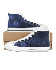 Night sky stars and galaxies Men's High Top White Shoes thumbnail