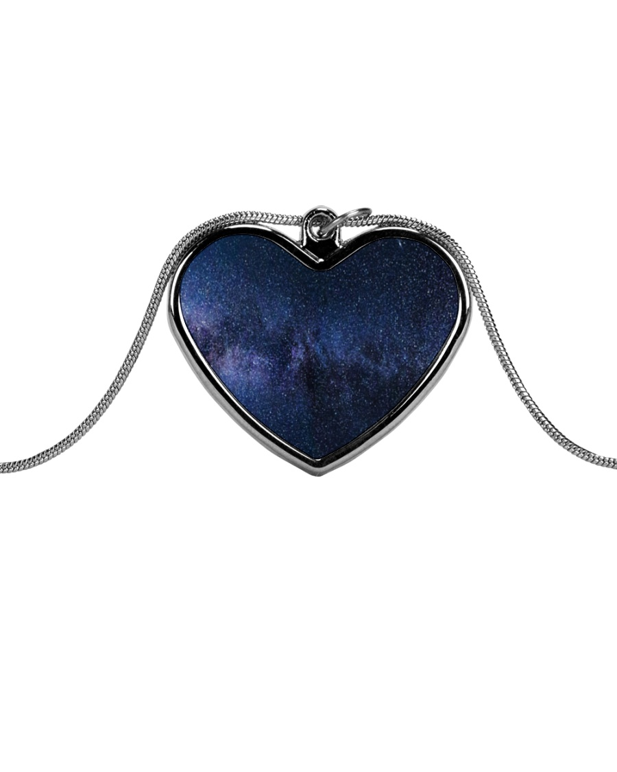 Night sky stars and galaxies Metallic Heart Necklace