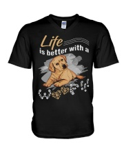 Life is better with a woof V-Neck T-Shirt thumbnail