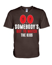 SOMEBODY'S GOT TO WATCH THE KIDS - RUNNING SHIRTS V-Neck T-Shirt front