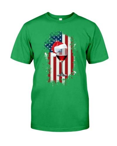 WINE AMERICAN FLAG - CHRISTMAS SHIRT