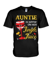 AUNTIE IS SIPPIN' ON HER JINGLE JUICE V-Neck T-Shirt thumbnail
