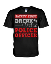 DRINK WITH POLICE OFFICER V-Neck T-Shirt thumbnail