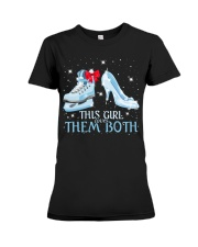 THIS GIRL LOVES THEM BOTH   Premium Fit Ladies Tee thumbnail