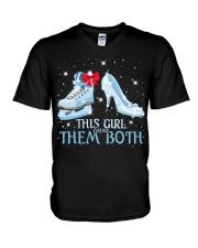 THIS GIRL LOVES THEM BOTH   V-Neck T-Shirt thumbnail