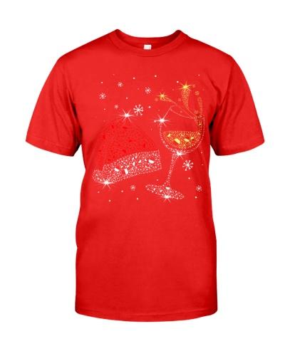 WINE AND CHRISTMAS HAT 2 - CHRISTMAS SHIRT