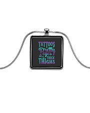 TATTOOS PRETTY EYES AND THICK THIGHS Metallic Rectangle Necklace thumbnail