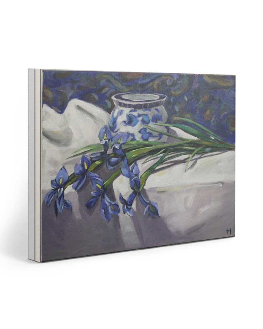 Irises flower painting 20x16 Gallery Wrapped Canvas Prints