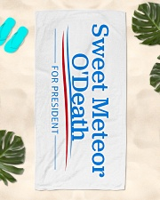 Sweet Meteor O'Death for President Beach Towel aos-towelbeach-vertical-front-lifestyle-2