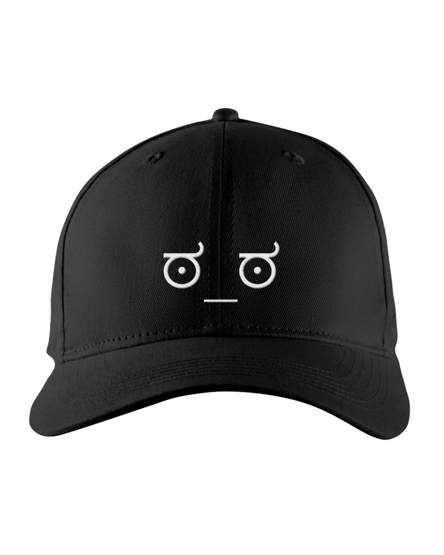 Disapproving Emoticon Embroidered Hat