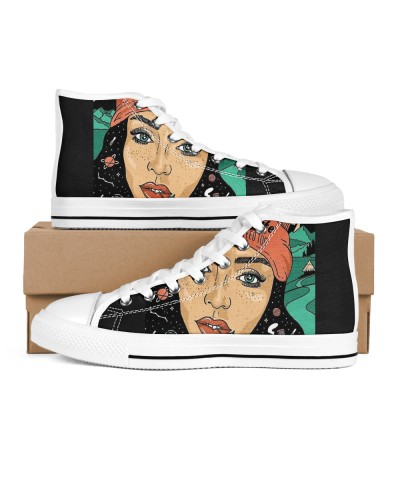 Cannabis art inspired high top shoes weed shoes
