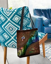 Faith Over Fear Leather Pattern Print All-over Tote aos-all-over-tote-lifestyle-front-01