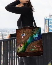 Faith Over Fear Leather Pattern Print All-over Tote aos-all-over-tote-lifestyle-front-05